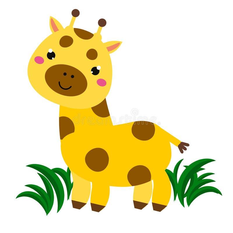 Cute cartoon giraffe. Animal character for babies and children design, prints. Cute cartoon smiling giraffe. Animal character for babies and children design stock illustration