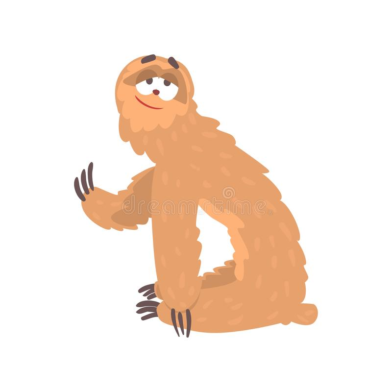 Cute cartoon smiling lazy sloth character, funny tropical animal vector Illustration. On a white background vector illustration
