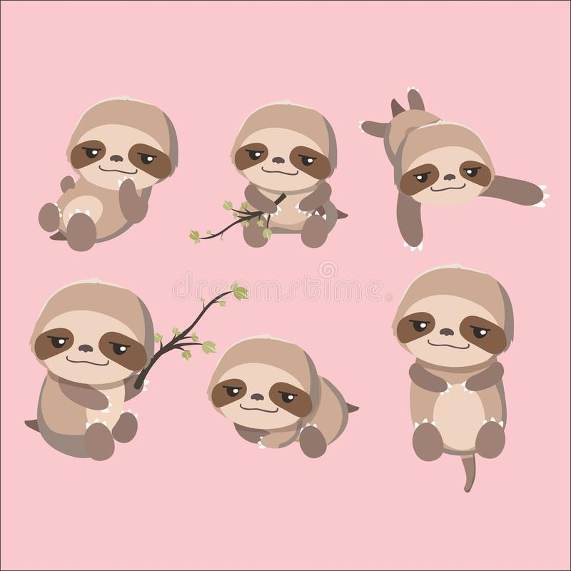 Cute cartoon smiling lazy sloth set. On pastel background stock illustration