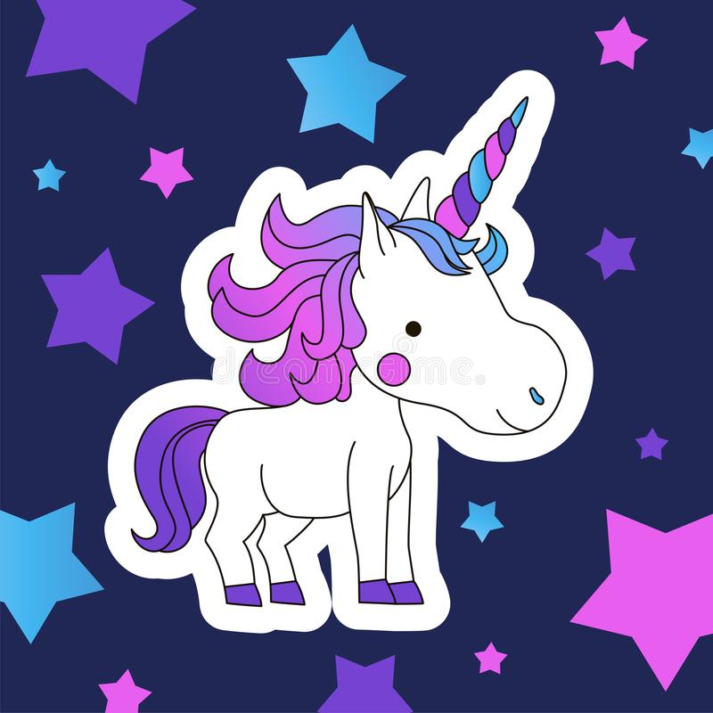 Cute Cartoon Smiling Unicorn on a navy background with stars vector illustration