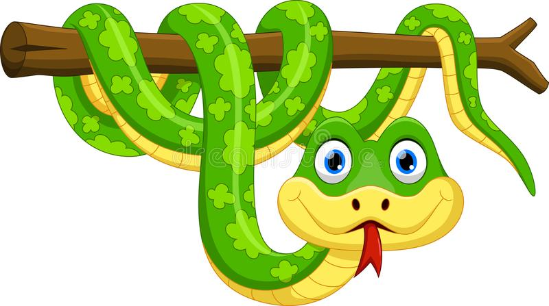 Cute cartoon snake on branch. Illustration of cute cartoon snake on branch isolated on white background vector illustration