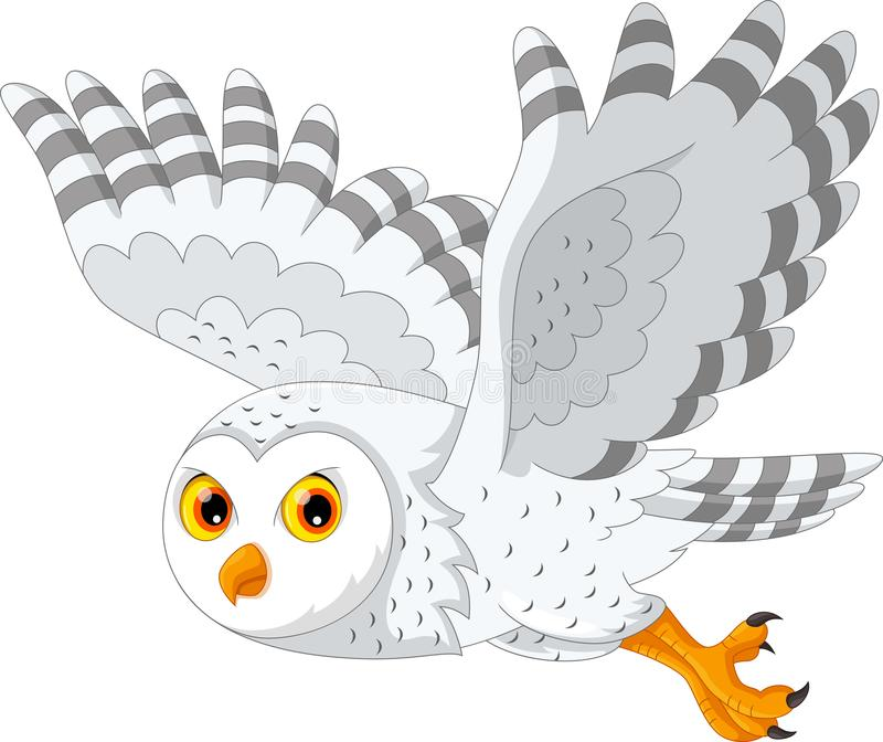 Cute Cartoon Snowy Owl Flying Stock Illustration ...