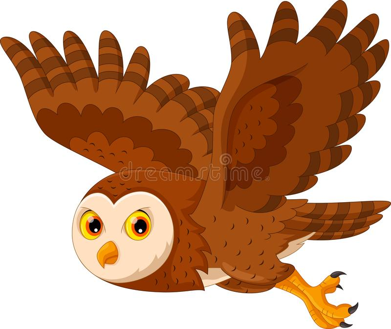 Cute Cartoon Snowy Owl Flying Stock Illustration ...