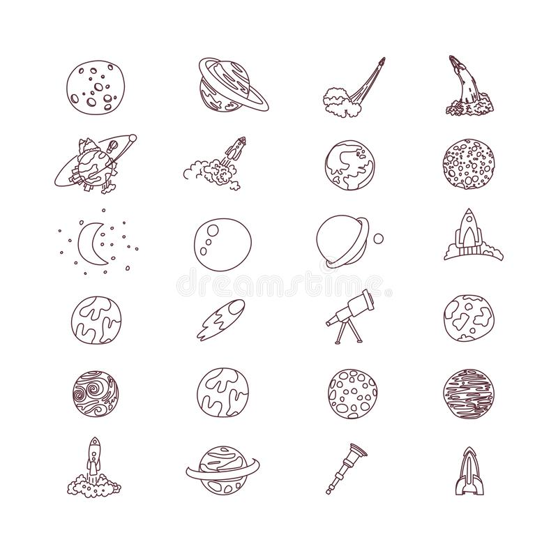 Cute cartoon space asrtonaut cosmos vector icon collection. Planet, rocket, observatory icons in one cute set, isolated stock illustration