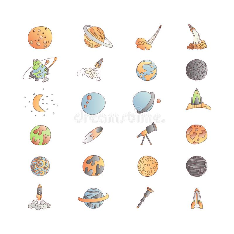 Cute cartoon space asrtonaut cosmos vector icon collection. Planet, rocket, observatory icons in one cute set, isolated. On white background. Cute planet and royalty free illustration