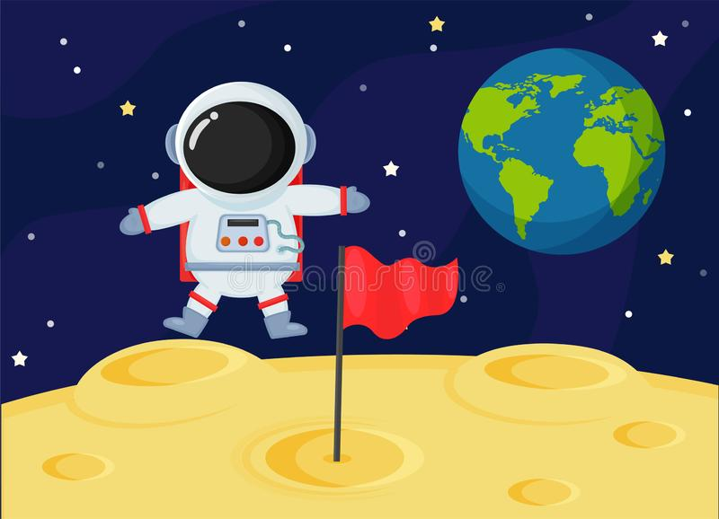 Cute cartoon space astronauts explore the earth`s moon surface.  stock illustration