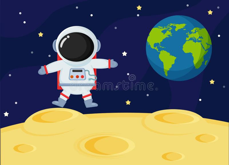Cute cartoon space astronauts explore the earth`s moon surface.  royalty free illustration