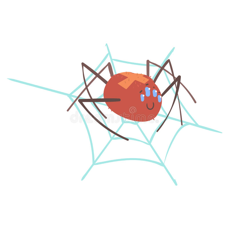 Cute cartoon spider character in a web vector Illustration royalty free illustration