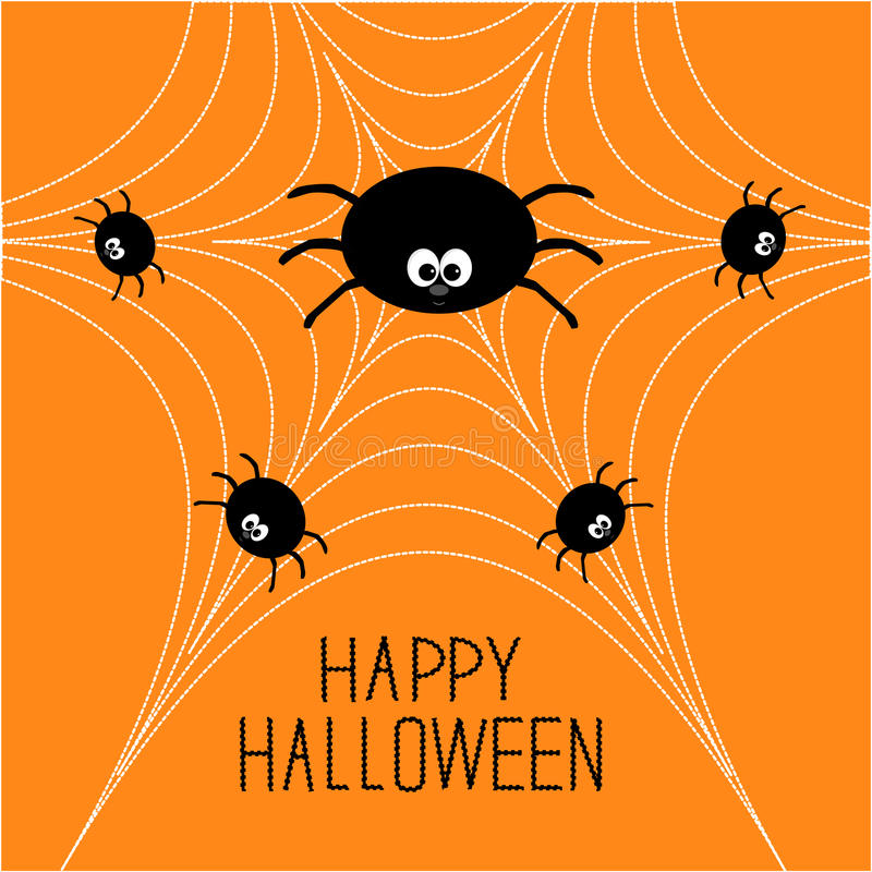 Cute cartoon spider family on the web. Halloween card. Flat design vector illustration