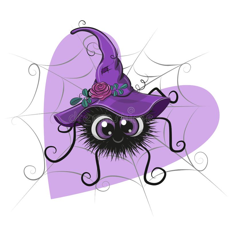 Free Cute Cartoon Spider With Witch Hat Royalty Free Stock Photography - 156586437
