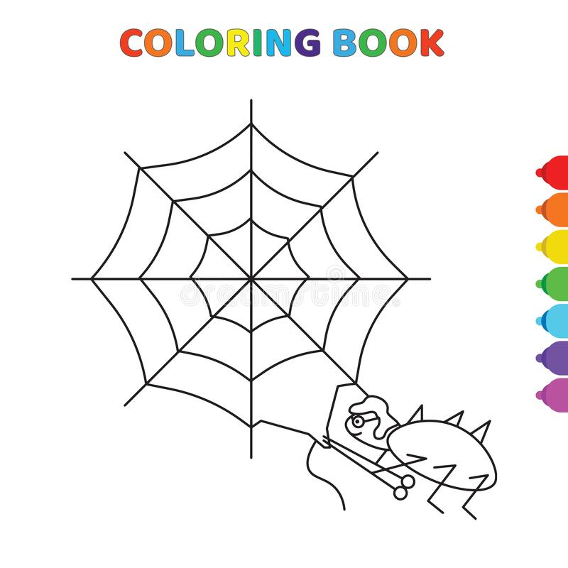 Cute cartoon spied on web coloring book for kids. black and white vector illustration for coloring book. spied on web concept hand. Drawn illustration stock illustration