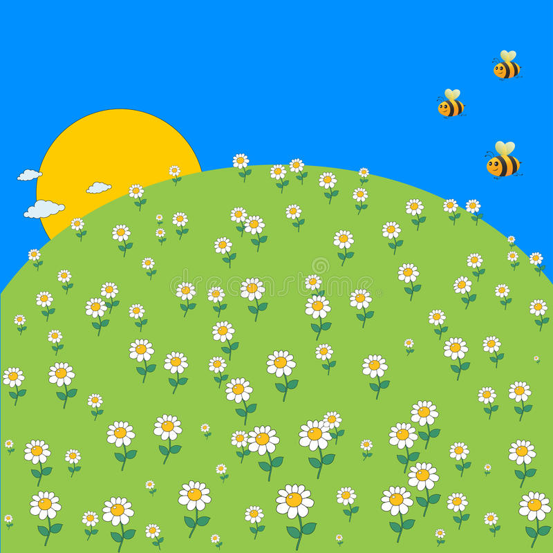 Free Cute Cartoon Spring Meadow With Daisy Flowers And Flying Bee. Royalty Free Stock Photos - 70152908