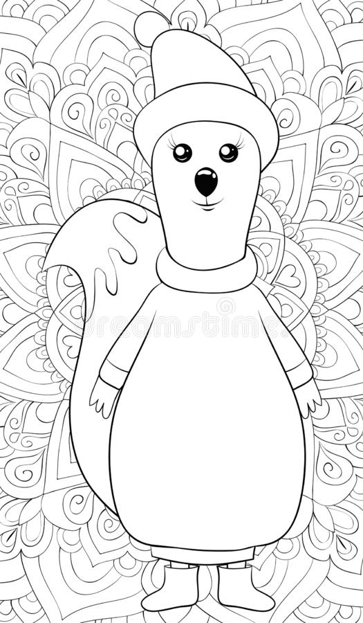 Adult coloring book,page a cute squirrel image for relaxing activity.Zen art style illustration for print. A cute cartoon squirrel wearing a cap,sweater and vector illustration