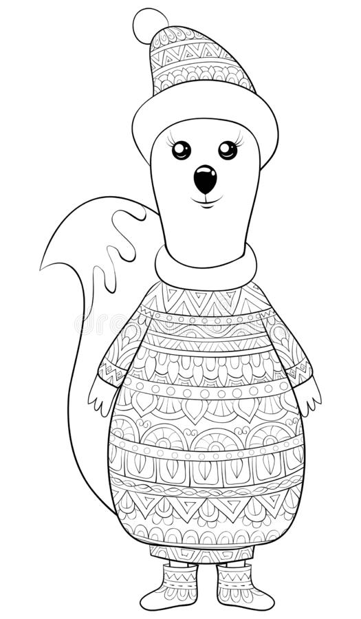 Adult coloring book,page a cute squirrel image for relaxing activity.Zen art style illustration for print. A cute cartoon squirrel wearing a cap,sweater and royalty free illustration