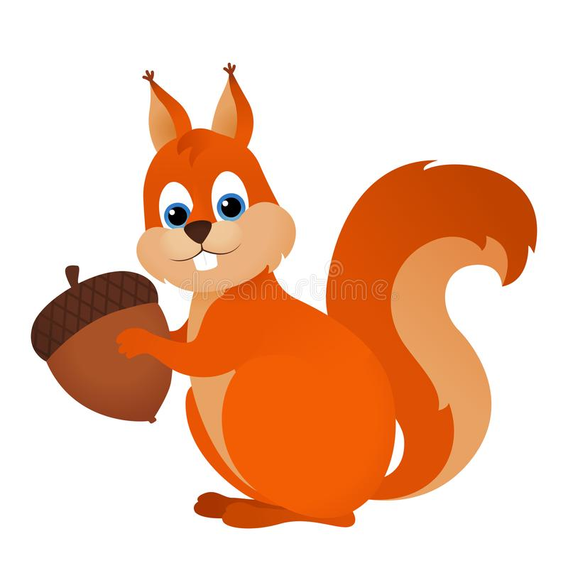 Free Cute Cartoon Squirrel With Nut Stock Photography - 159552452