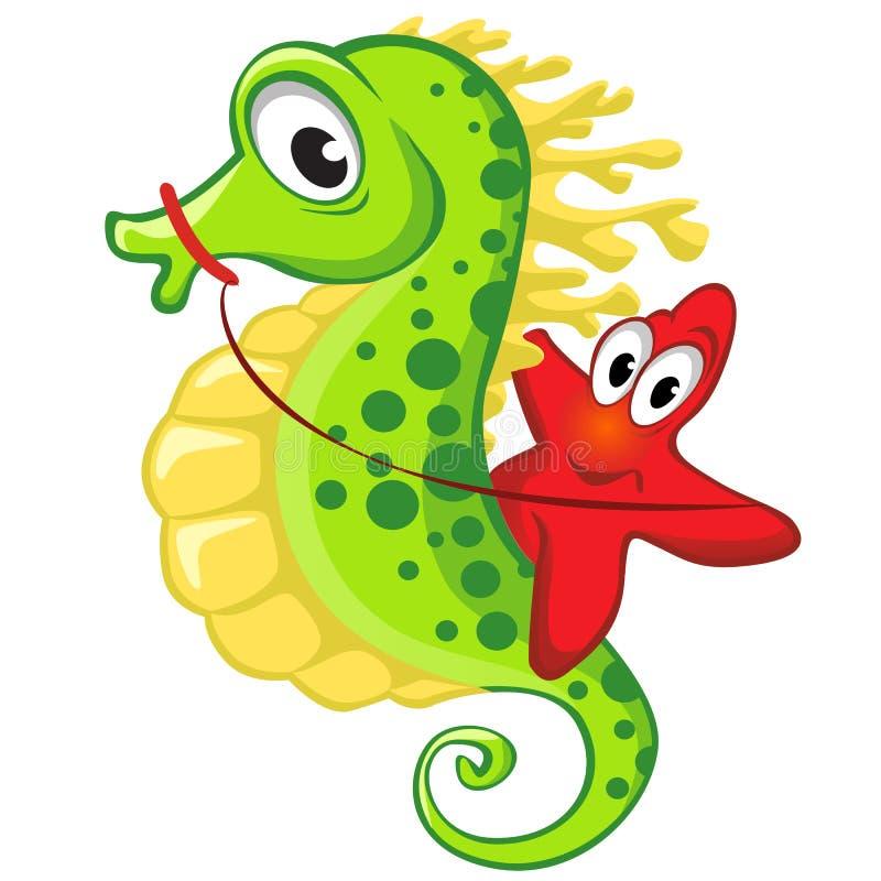 Cute cartoon starfish riding on the seahorse. Vector illustration on white background vector illustration