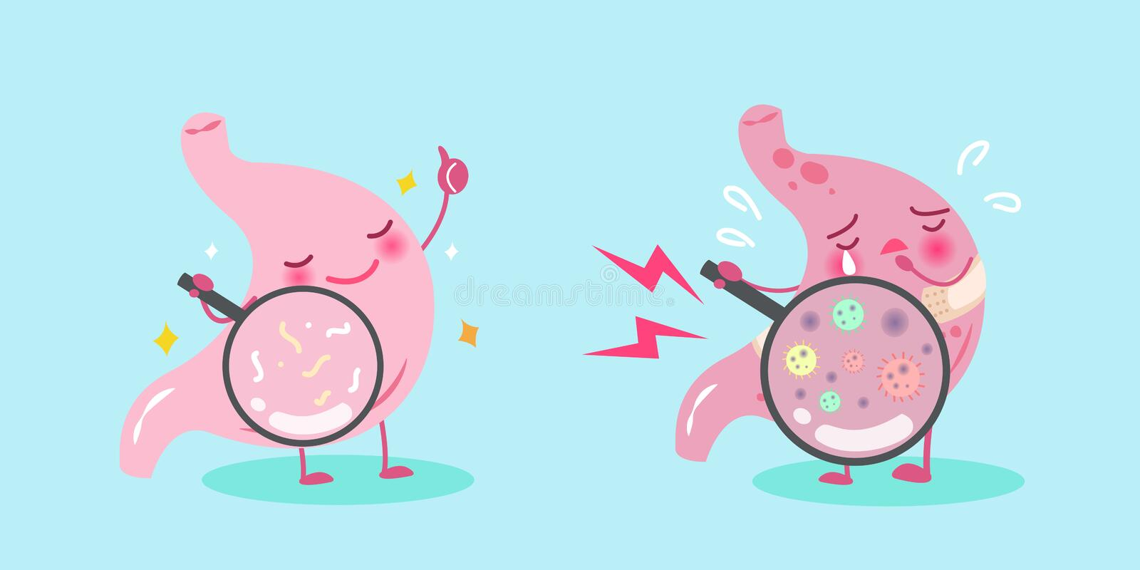 Cute cartoon stomach. With healthy concept on blue background stock illustration