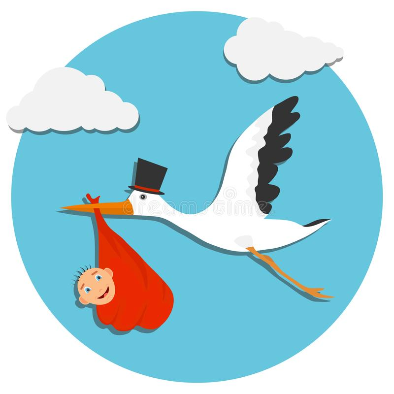 Cute cartoon stork and baby. Card with stork and baby on blue sky. Vector illustration of a flying bird carrying. A newborn kid stock illustration