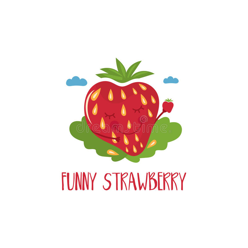 Cute cartoon strawberry with hands and eyes for kids theme. vector illustration