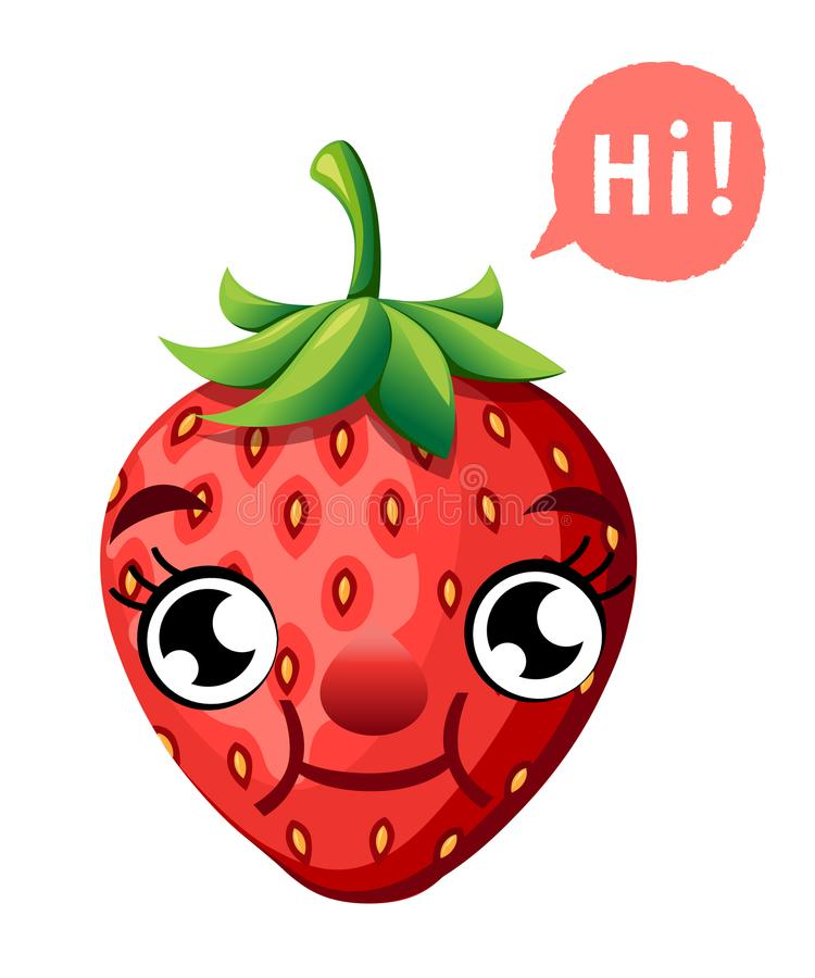 Cute cartoon strawberry smiling fruit with a caption cloud vector illustration isolated on white background web site page and mobi. Le app design stock illustration