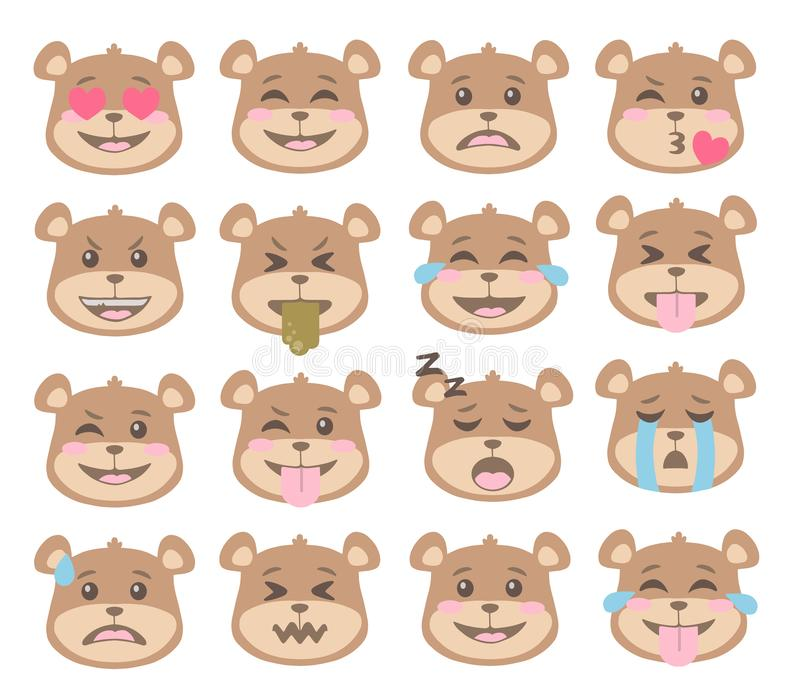 Cute cartoon style Bear faces with different expression emoticon icon vectors set. Cute cartoon style Brown Bear faces with different expression emoticon icon royalty free illustration