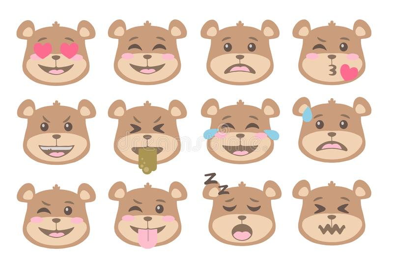 Cute cartoon style brown bear faces with different expression emoticon icon vectors set. Cute cartoon style bear faces with different expression emoticon icon royalty free illustration