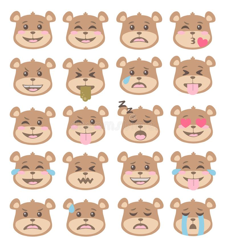 Cute cartoon style brown bear faces with different facial expressions, emoticon vectors set. With angry, sad, mad, surprised and happy smiling faces stock illustration