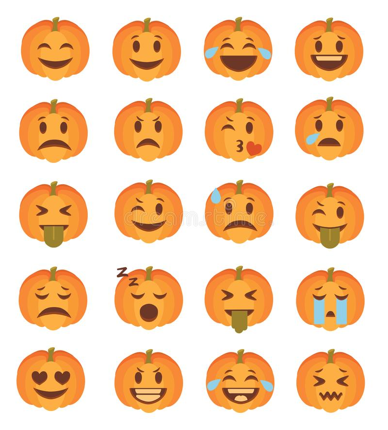Cute cartoon style carved Halloween pumpkin faces with different expression emoticon icon vector set. Cute cartoon style carved Halloween pumpkin faces with stock illustration
