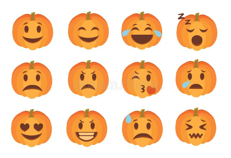 Cute carved Halloween pumpkin faces with different expression emoticon icon vectors set. Cute cartoon style carved Halloween pumpkin faces with different royalty free illustration