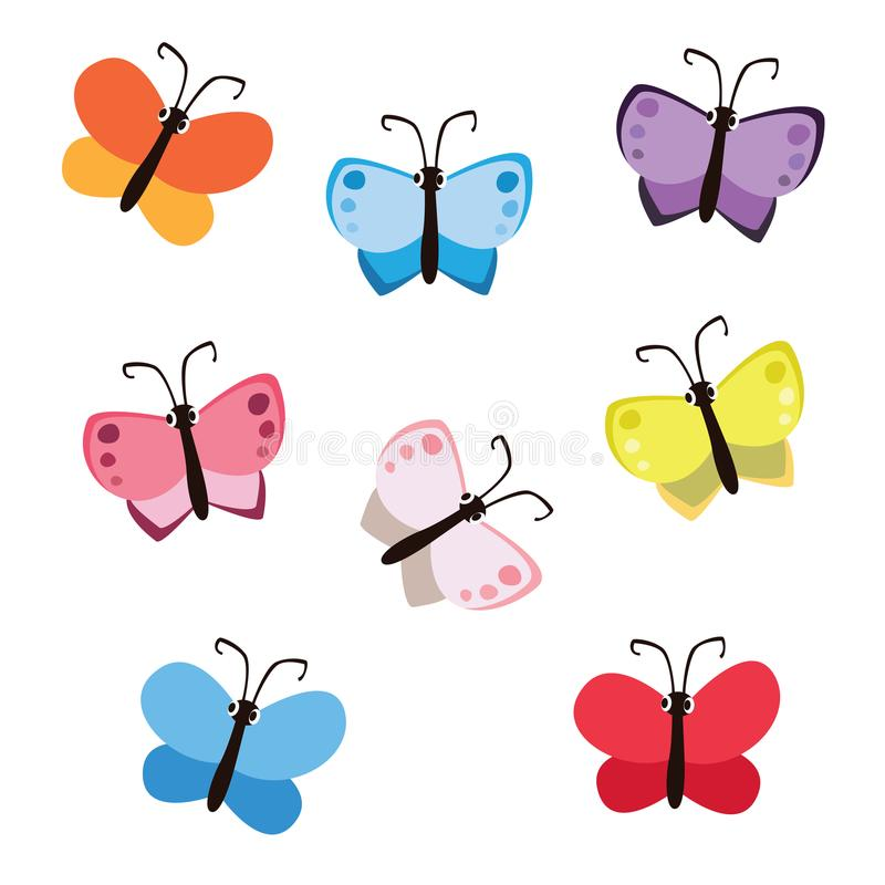 Cute Cartoon Style Colorful Butterfly Set Isolated on White Background royalty free illustration