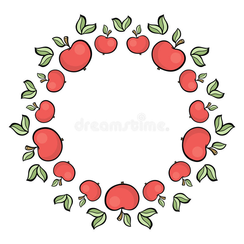 Cute cartoon style hand drawn red apple frame royalty free illustration