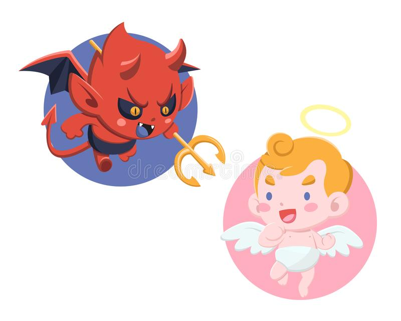 Cute Cartoon style Little Devil and Angel Illustration royalty free illustration