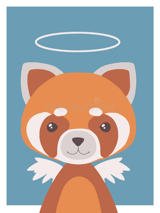Cute cartoon style nursery vecor animal drawing of a guardian angel red panda with halo and wings royalty free illustration