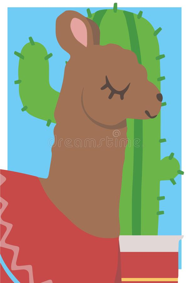 Cute cartoon style simple animal vector graphic illustration drawing of a brown llama with red poncho in front of cactus stock illustration