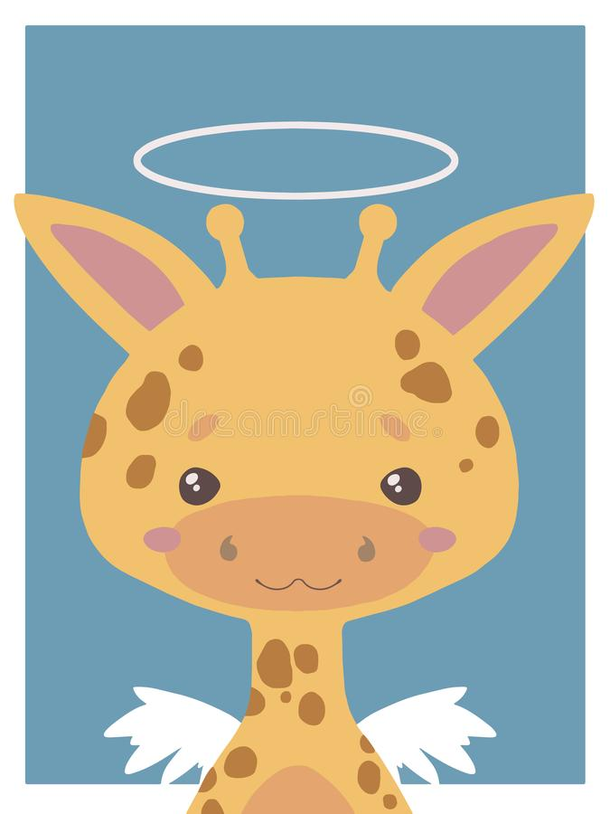 Cute cartoon style vector animal drawing of a guardian angel giraffe with halo and wings suitable for nursery royalty free illustration