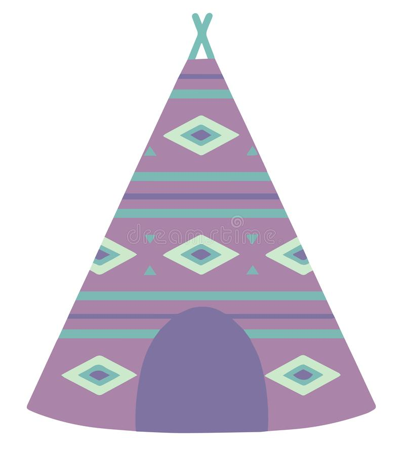 Cartoon style vector illustration of a violet tipi tent with bohemian ethno pattern stock illustration
