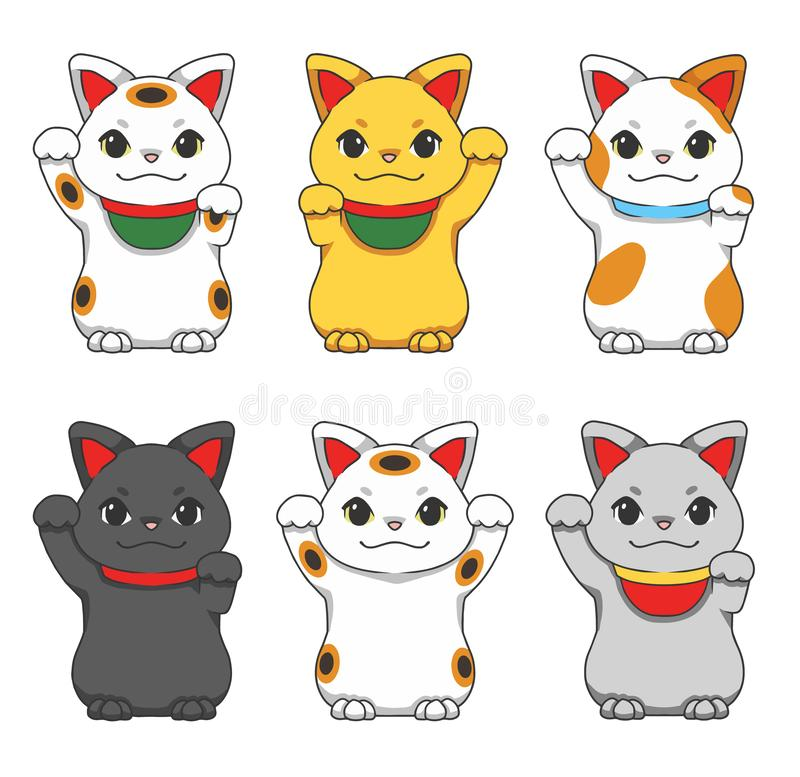 Cute cartoon style vector illustrations of different colored traditional Japanese so called `Maneki Neko` winking lucky cats royalty free illustration