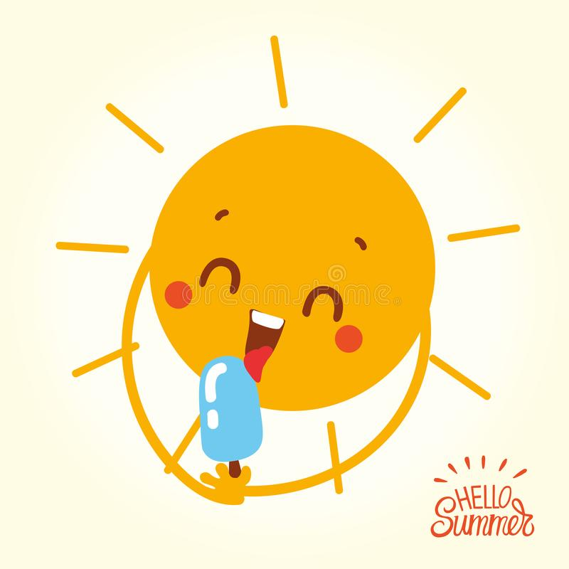 Cute cartoon sun character design eating ice cream. Holding sweet frozen food. Summer image for kids apparel, poster, postcard or sticker stock illustration