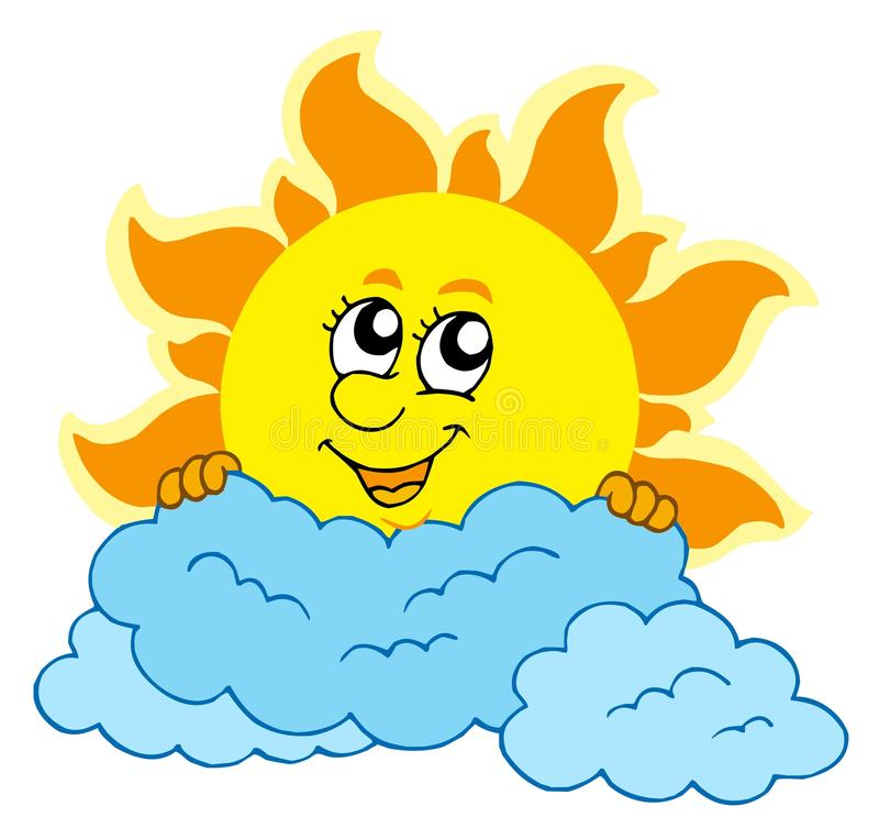 Cute cartoon Sun with clouds stock illustration