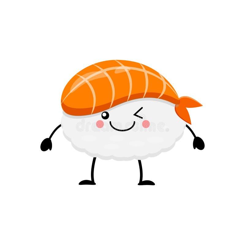 Cute cartoon sushi character. Kawai sushi. Vector illustration i. Cute cartoon sushi character. Kawaii sushi. Vector illustration isolated on white background vector illustration