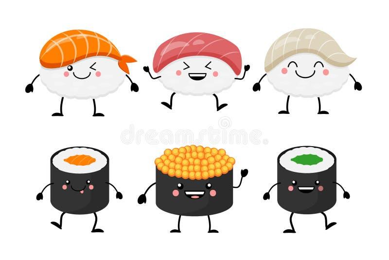 Cute cartoon sushi set characters. Kawaii sushi. Vector illustra. Tion isolated on white background stock illustration