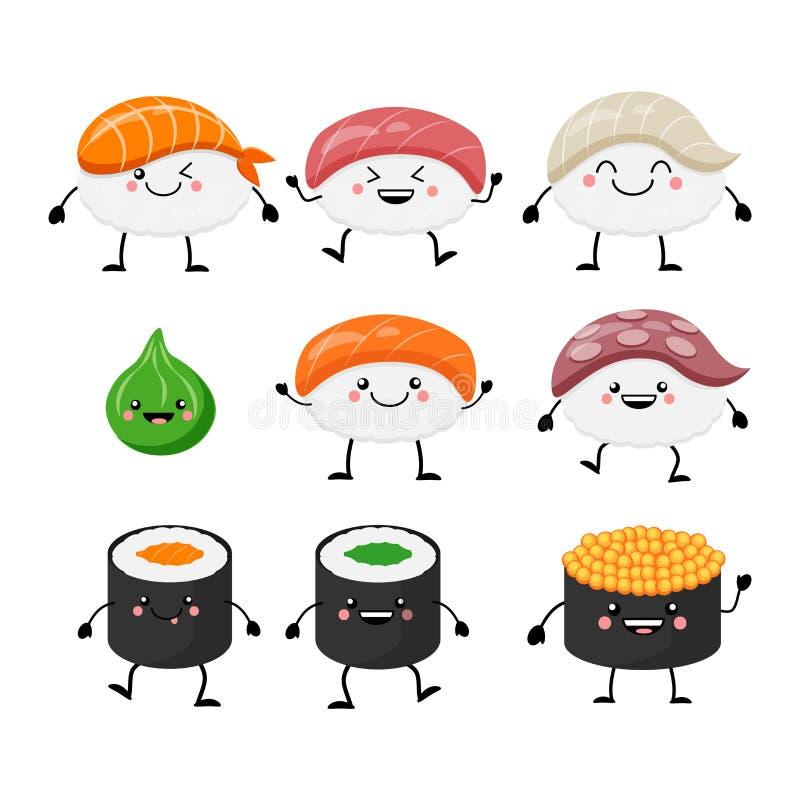 Cute cartoon sushi set characters. Kawaii sushi. Vector illustra. Tion isolated on white background vector illustration