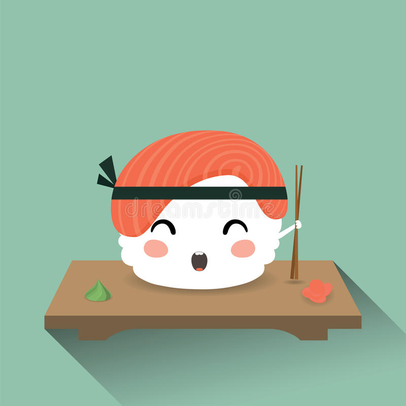 Cute cartoon sushi. Vector illustration of cute cartoon sushi. Japanese food vector illustration