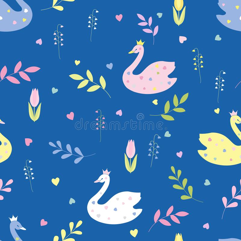 Cute cartoon swans, flowers, leaves. Seamless color vector. royalty free illustration