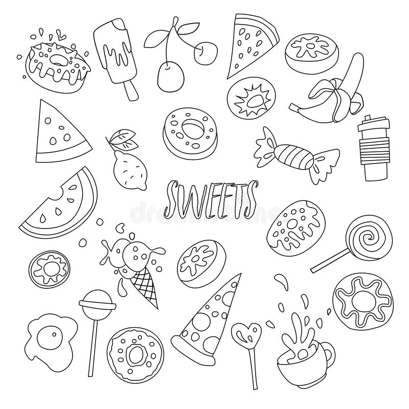 Cute cartoon sweets line icon set, fruits, berries and sweet candies. All sweet desserts icons. Hand draw line objects - vector illustration