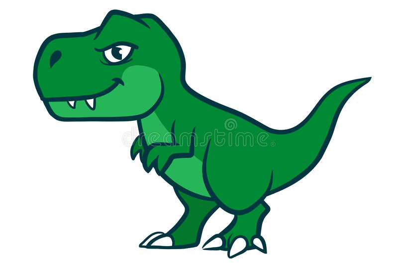 Cute cartoon t-rex. Hand drawn cartoon vector character illustration of a cute smiling green Tyrannosaurus Rex royalty free illustration