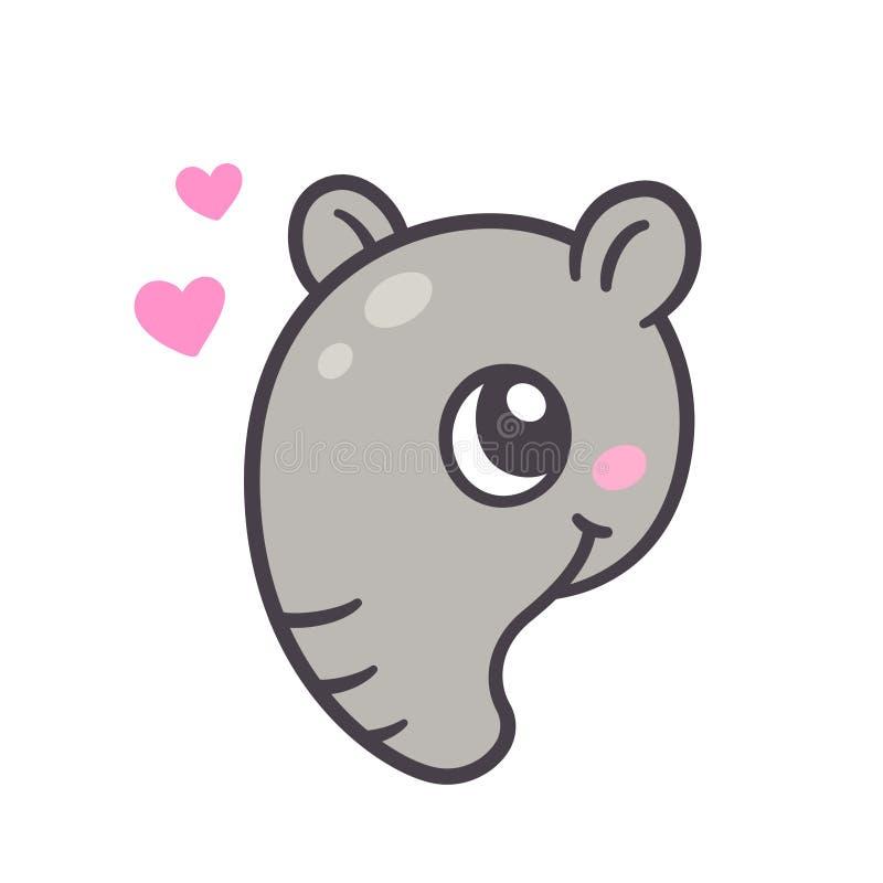 Cute cartoon tapir face vector illustration