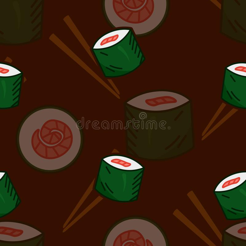 Cute cartoon tasty sushi roll seamless pattern on dark brown background, for food delivery stock illustration
