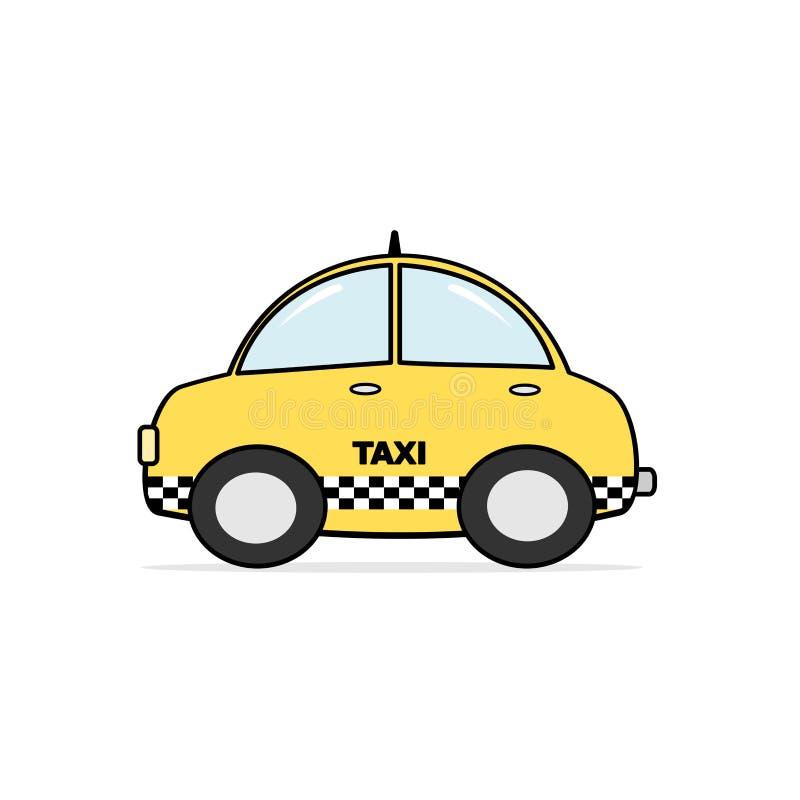 Cute cartoon taxi cab illustration on white background. Cute cartoon taxi cab vector illustration on white background vector illustration