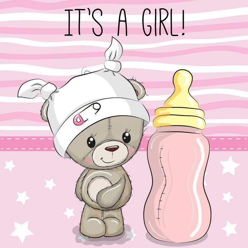 Cartoon Teddy bear with feeding bottle. Cute Cartoon Teddy bear with feeding bottle royalty free illustration